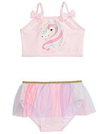 Little Girls 2-Pc. Unicorn Tutu Tankini