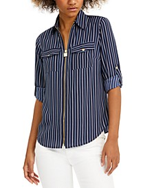 Petite Striped Zip-Front Top