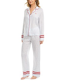 Varsity-Striped Printed Pajama Set