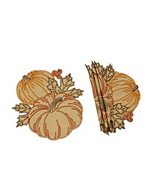 Pumpkin Party Embroidered Cutwork Round Placemats - Set of 4