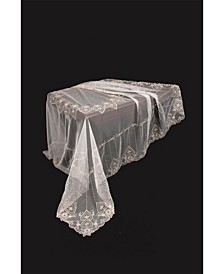 Exquisite Heart Lace Embroidered Tablecloth with Beaded Accents