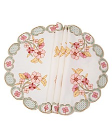 Primrose Embroidered Cutwork Round Placemats - Set of 4