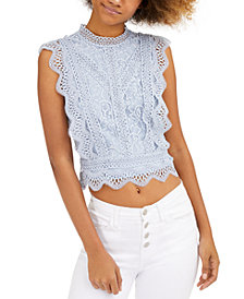 Lucy Paris Sleeveless Lace Cropped Top