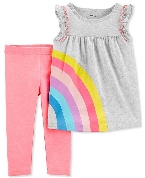 Carter's Baby Girls 2-Pc. Rainbow Tunic & Leggings Set