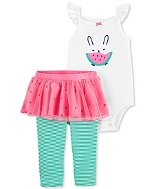 Baby Girls 2-Pc. Watermelon Bodysuit & Tutu Leggings Set