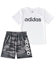 Little Boys 2-Pc. Adi Running Camo Logo T-Shirt & Shorts Set
