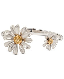 Two-Tone Pavé Flower Cuff Bracelet