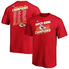 Men's Kansas City Chiefs Super Bowl LIV Champ Hut Roster T-Shirt