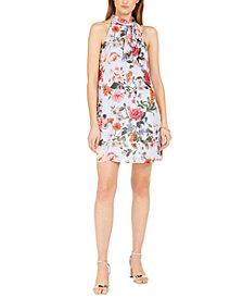 Vince Camuto Bow-Neck Floral-Print Halter Dress