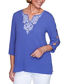 Costa Rica Embroidered Bubble Top