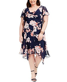 Plus Size Cowlneck Floral-Print Chiffon Dress
