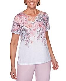 Primrose Garden Floral-Print Scalloped Knit Top
