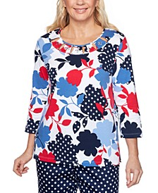 Ship Shape Dot-Floral-Print Top