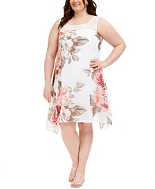 Plus Size Floral-Print Trapeze Dress