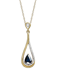 14k Gold Necklace, Sapphire (5/8 ct. t.w.) and Diamond Accent Pear-Shaped Drop Pendant
