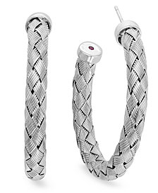The Fifth Season by Roberto Coin Sterling Silver Earrings, Medium Woven Hoop Earrings