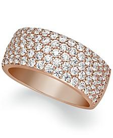 Arabella Sterling Silver Ring, Swarovski Zirconia Pave Band in Rose Gold