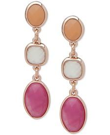 Rose Gold-Tone Multicolor Stone Linear Earrings