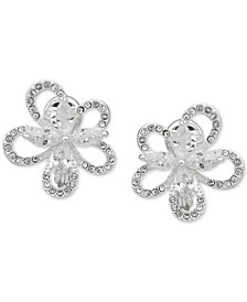 Crystal 3D Flower Clip-On Button Earrings