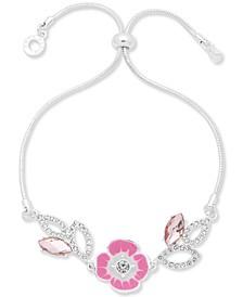 Crystal & Stone Flower Slider Bracelet