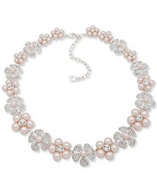 "Silver-Tone Pavé & Imitation Pearl Flower Collar Necklace, 16"" + 3"" extender"