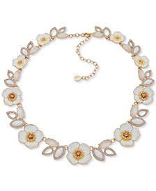 "Crystal, Stone & Mother-Of-Pearl 3D Flower Collar Necklace, 16"" + 3"" extender"