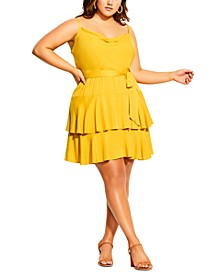 Trendy Plus Size Mini Frill Dress