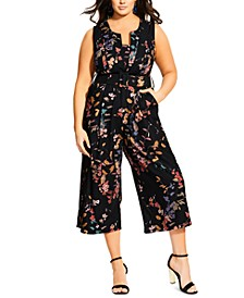 Trendy Plus Size Floral-Print Cropped Jumpsuit