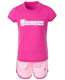 Toddler Girls 2-Pc. Shadow Logo Script T-Shirt & Polka Dot Shorts Set