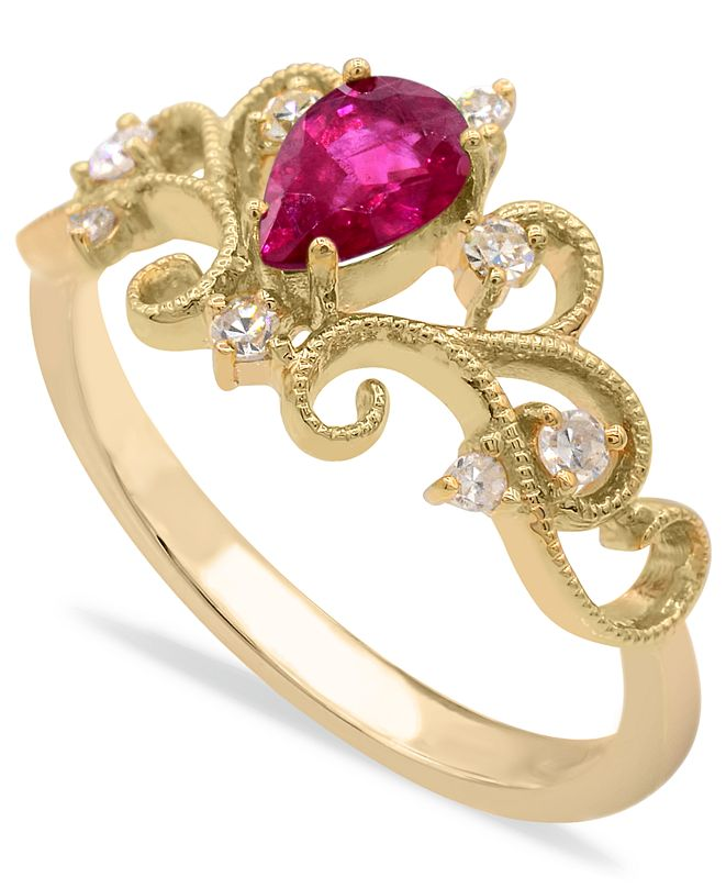 Macy's Gemstone and Diamonds (1/8  ct. t.w.) Ring Set in 14k Yellow Gold