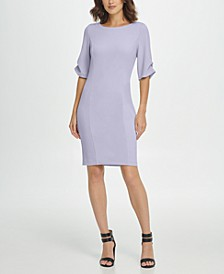 Pearl Cufflink Ruched Sleeve Sheath Dress