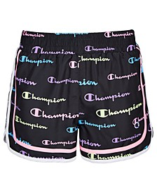 Big Girls Varsity Allover Multi-Color Script Logo Woven Shorts