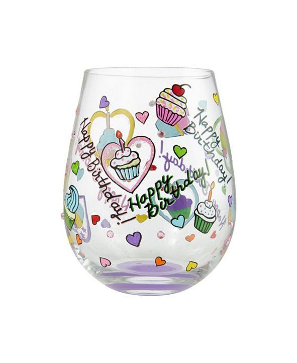 Enesco LOLITA Birthday Cupcakes Stemless Wine Glass