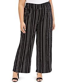 Trendy Plus Size Striped Wide-Leg Pants
