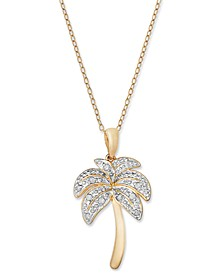Diamond Palm Tree Pendant Necklace in 18k Gold over Sterling Silver and Sterling Silver (1/10 ct. t.w.)