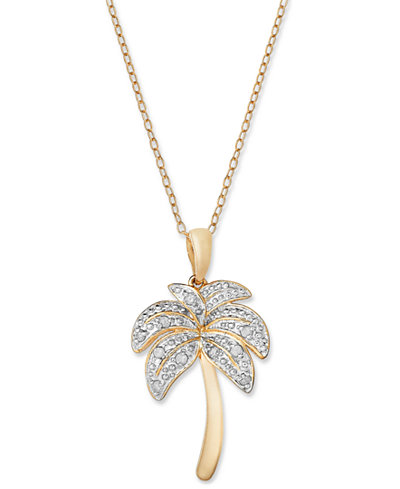 Diamond palm tree pendant necklace in 18k gold over sterling diamond palm tree pendant necklace in 18k gold over sterling silver and sterling silver 1 mozeypictures Gallery