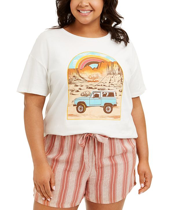 Rebellious One Trendy Plus Size Cotton Adventure Graphic T-Shirt