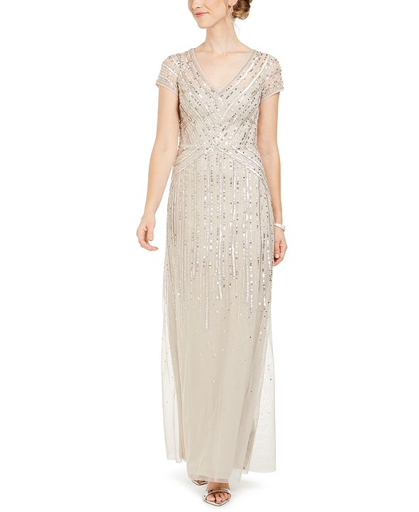 Adrianna Papell V-Neck Embellished Gown
