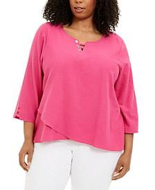Plus Size Laguna Beach Cotton Button-Trim Top