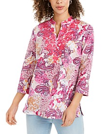 Linen-blend Embroidered-Neck Printed Tunic, Created for Macy's