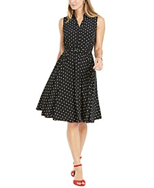 Petite Polka Dot Belted Fit & Flare Dress, Created for Macy's