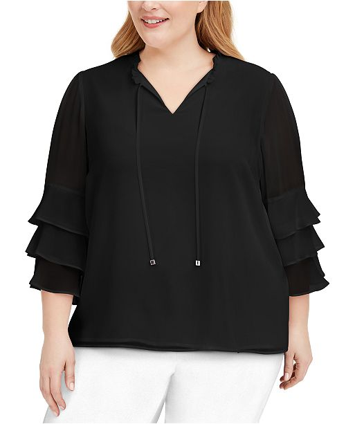 Calvin Klein Plus Size Tiered-Ruffle Top