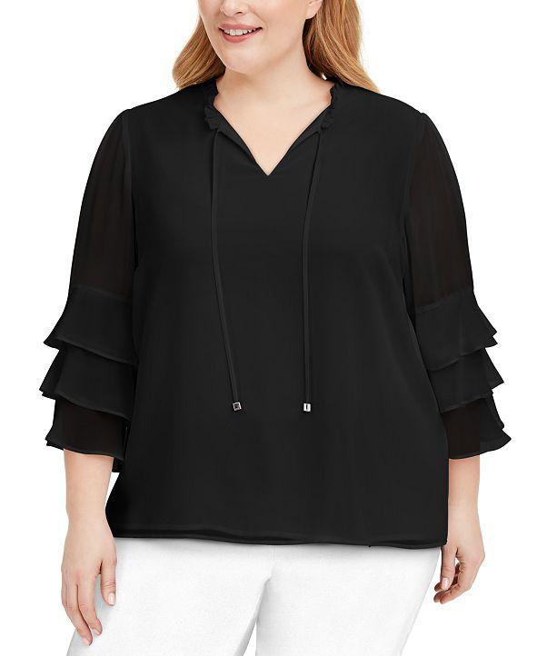Calvin Klein Plus Size Tiered-Ruffle Top
