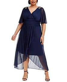 Plus Size Embellished Chiffon Cold-Shoulder Dress