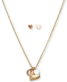Two-Tone Heart Charm Pendant Necklace & Stud Earrings Set