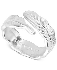 Silver-Tone Feather Adjustable Ring
