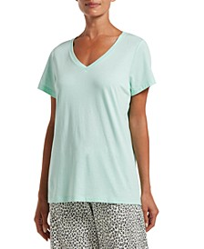 Solid V-Neck Short Sleeve Women's Tee
