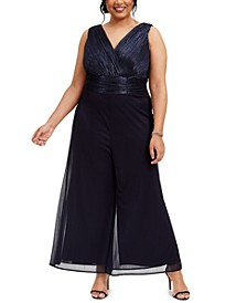 Plus Size Metallic Wide-Leg Cropped Jumpsuit