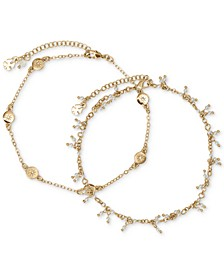 Gold-Tone 2-Pc. Set Pavé Star & Imitation Pearl Ankle Bracelets