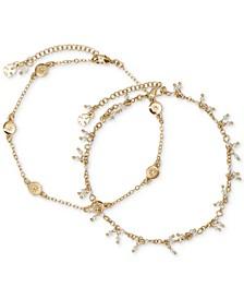 Gold-Tone 2-Pc. Set Pavé Star & Imitation Pearl Ankle Bracelets